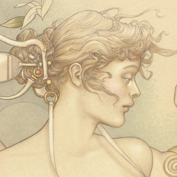 Detail of Michael Parkes 'Primavera' print on Vellum