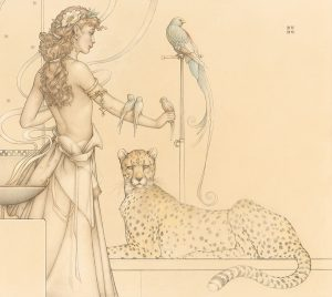 Masterwork on Vellum of Michael Parkes called Quetzal