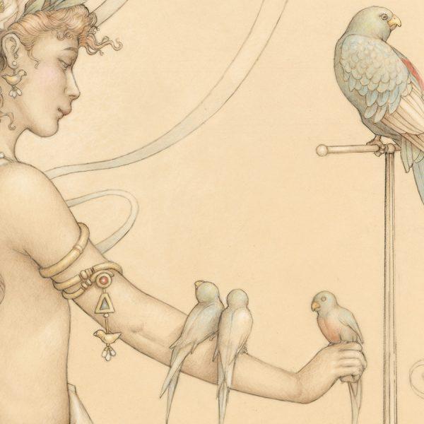 Detail of Michael Parkes Quetzal print on Vellum