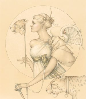 Masterwork on Vellum of Michael Parkes called Royal Cheetah