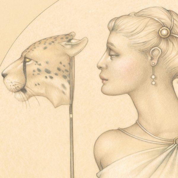 Detail of Michael Parkes Royal Cheetah print on Vellum