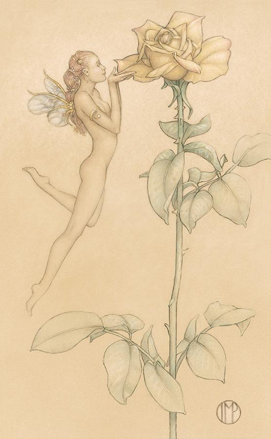 Masterwork on Vellum of Michael Parkes called The Rose
