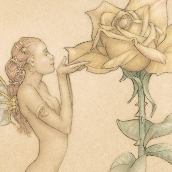 Detail of Michael Parkes The Rose print on Vellum