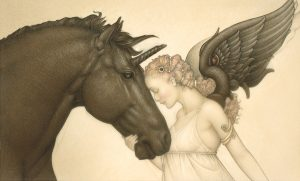 Paper Giclee of Michael Parkes Dark Unicorn