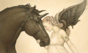 Paper Giclee of Michael Parkes Dark Unicorn
