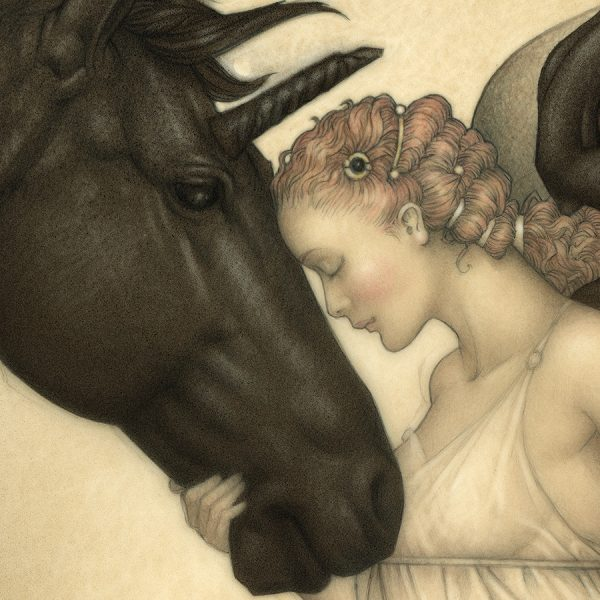 Detail of Michael Parkes Giclee Dark Unicorn