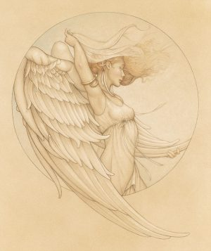 Masterwork on Vellum of Michael Parkes called Winds of Change