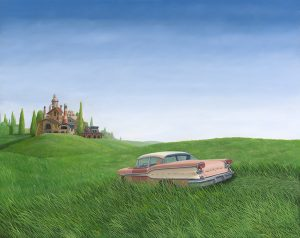 Limited Edition print 'The Green Grass on the otherside of the Hill' of Peter van Oostzanen