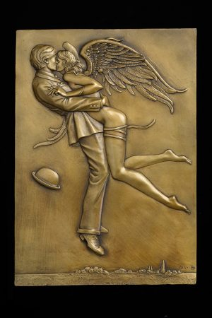 A sculpture of Michael Parkes called Angel Affair Bas-relief GOLD