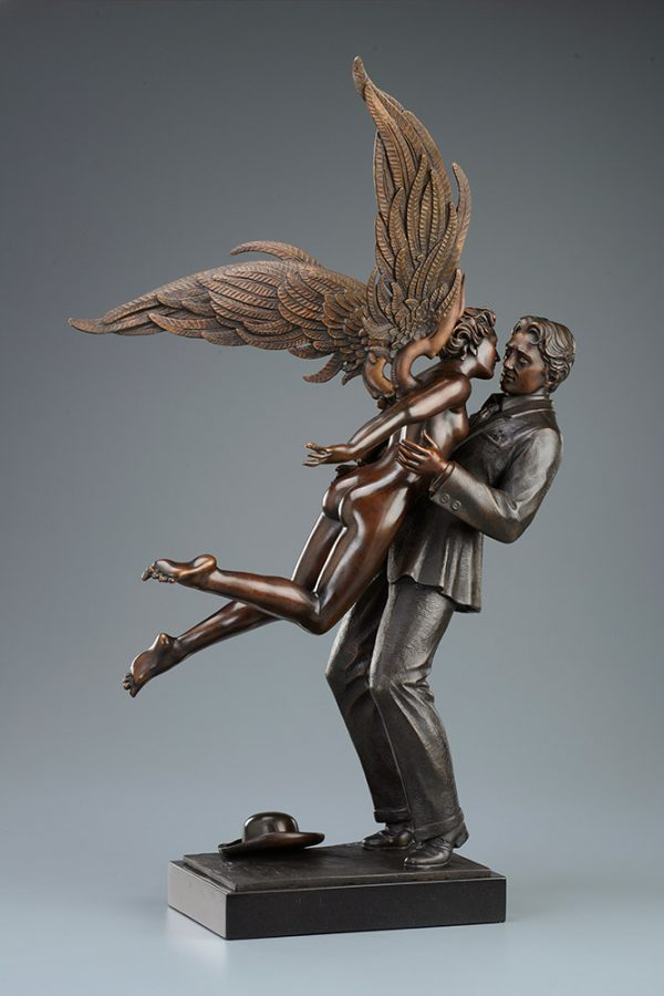 A sculpture of Michael Parkes called Angel Affair TRADIONAL PATINA