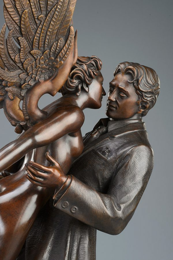 A sculpture of Michael Parkes called Angel Affair TRADIONAL PATINA (Close-up)