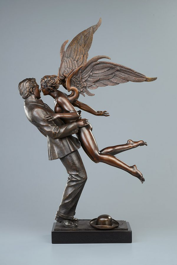 A sculpture of Michael Parkes called Angel Affair TRADIONAL PATINA (Left)