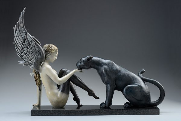 A sculpture of Michael Parkes called Black Panther White Wings