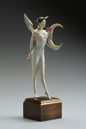 A sculpture of Michael Parkes called Butterfly Moon