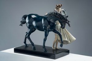 A sculpture of Michael Parkes called Dark Unicorn