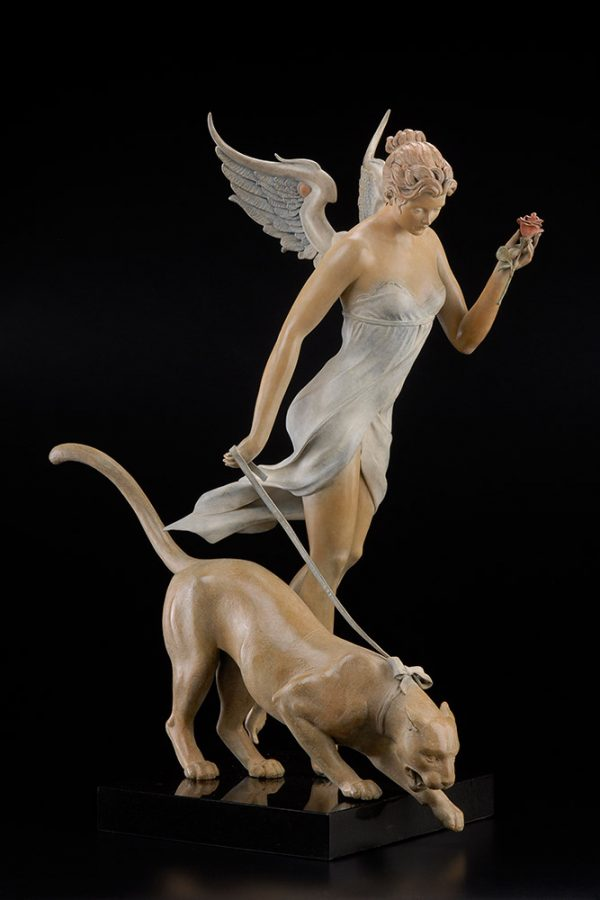 A sculpture of Michael Parkes called Decending (Left)