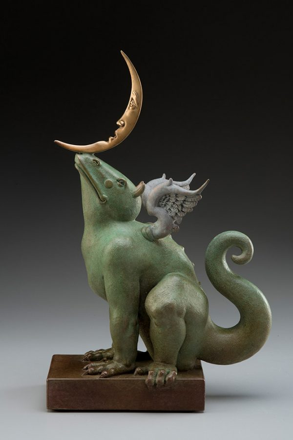 A sculpture of Michael Parkes called Dragon Moonbeam GREEN (Right)