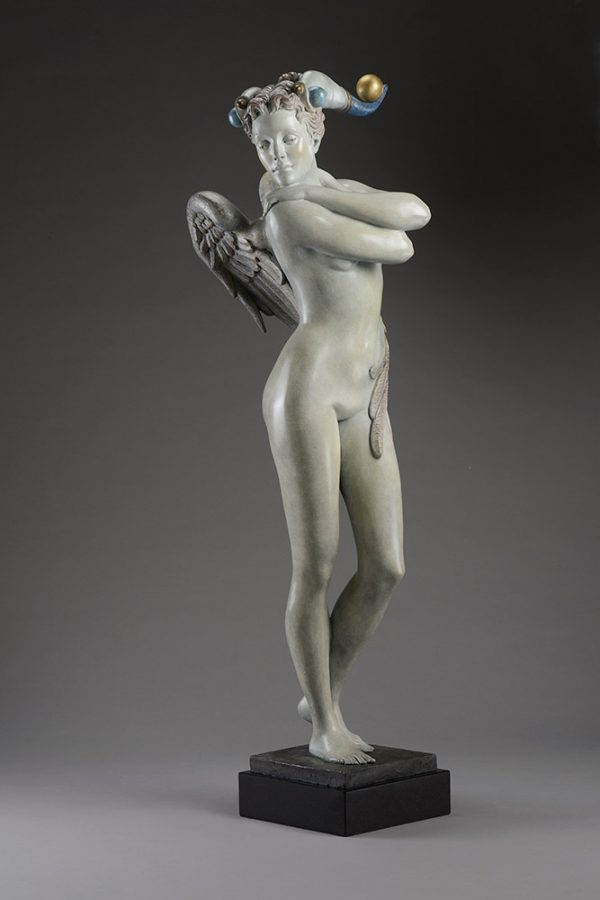 A sculpture of Michael Parkes called Guardian Bronze