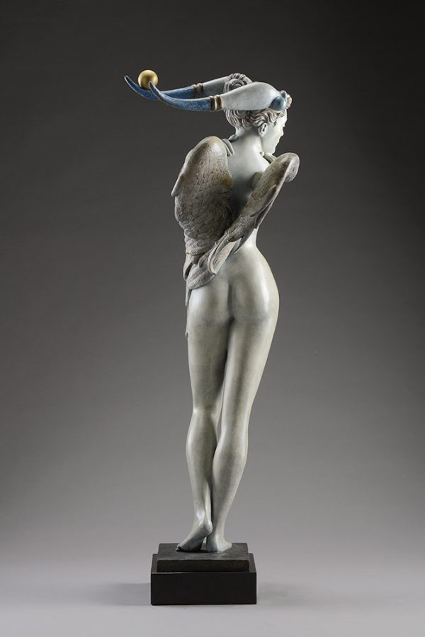 A sculpture of Michael Parkes called Guardian Bronze (Rear)