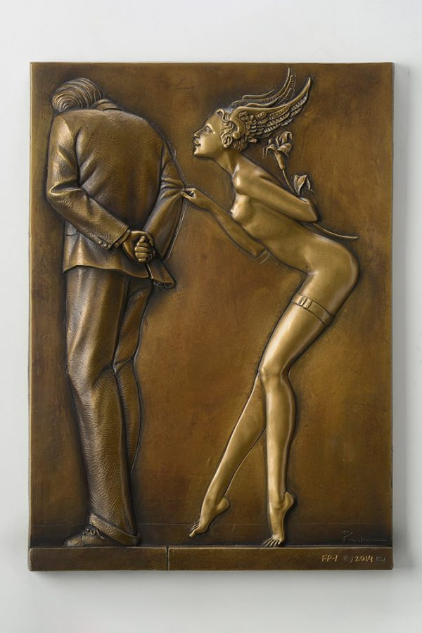 A sculpture of Michael Parkes called Gift for the Disillusioned Man Bas-relief GOLD