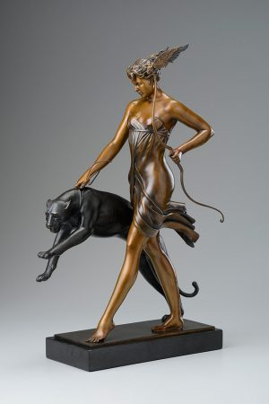 A sculpture of Michael Parkes called Goddess of the Hunt