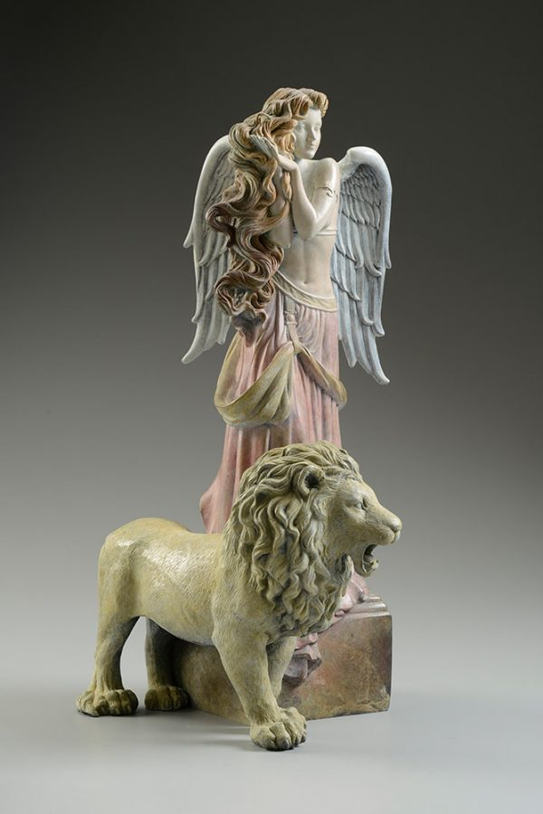 A sculpture of Michael Parkes called Lion's Return (Left)