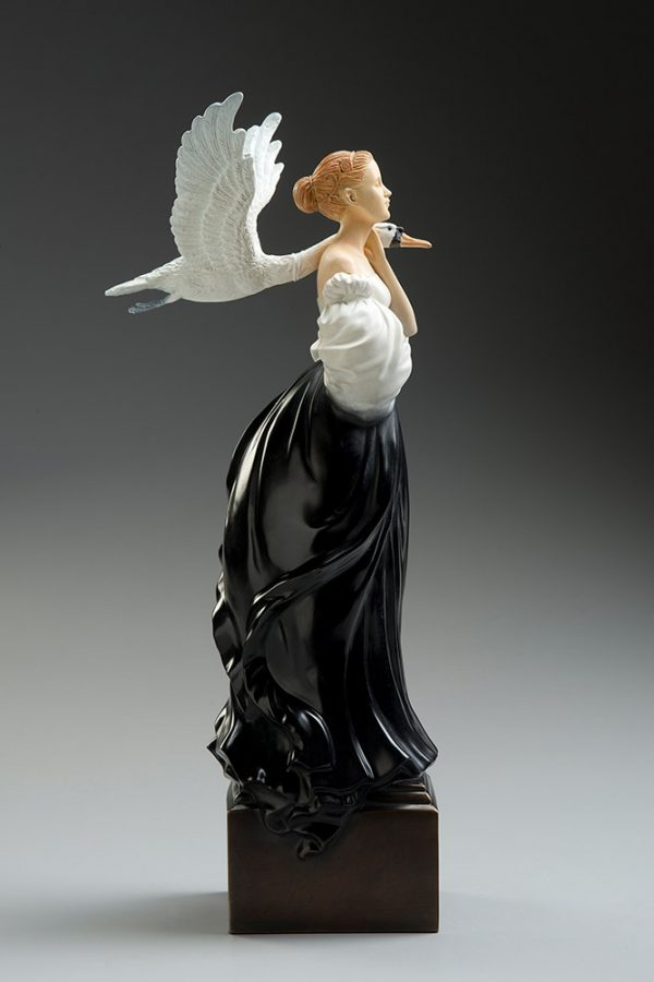 A sculpture of Michael Parkes called Pale Swan (Left)