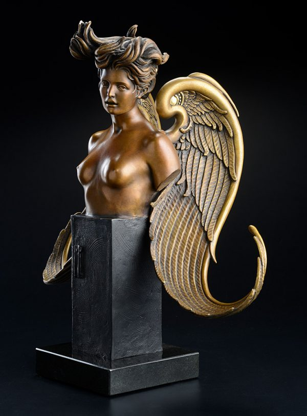 A sculpture of Michael Parkes called The Muse (Right)