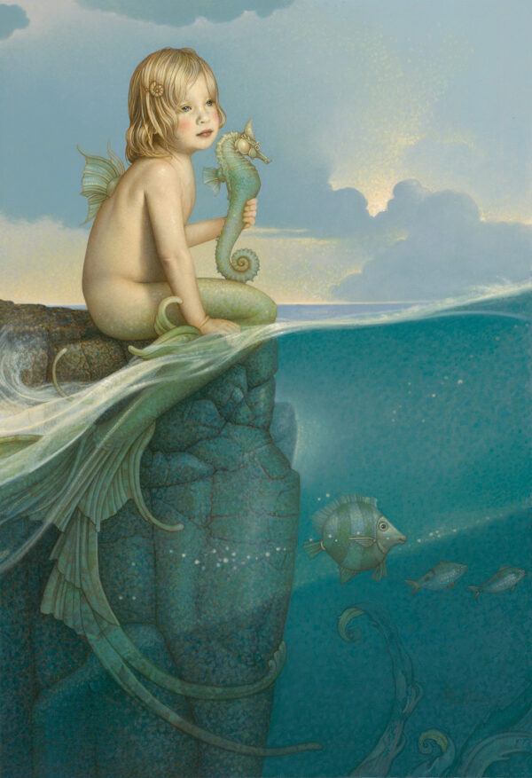 Canvas Giclee of Michael Parkes Baby Mermaid