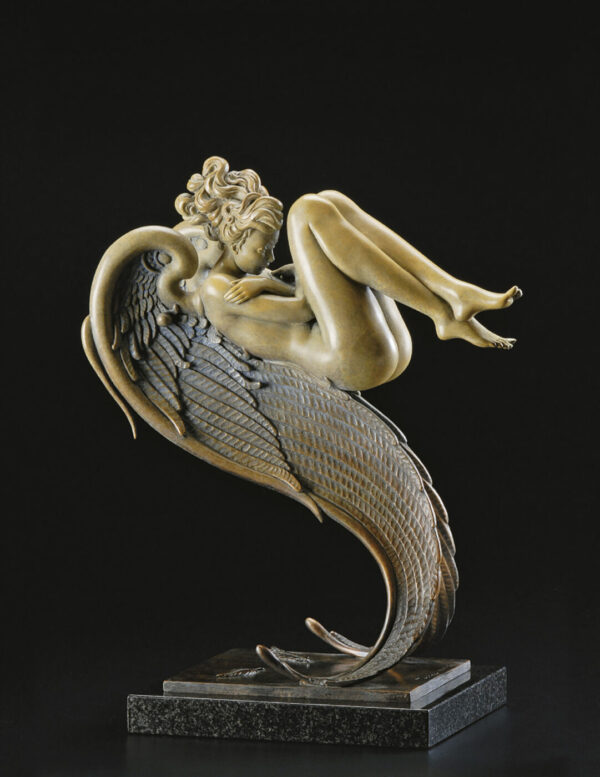 Bronze Custom Patina Sculpture of Michael Parkes Angel of August