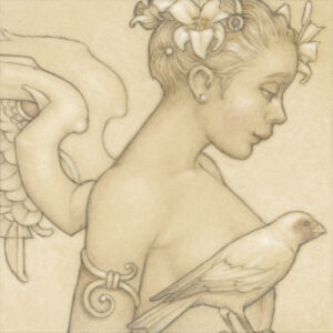 Paper Giclee of Michael Parkes Angel with Bird