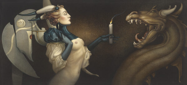 Canvas Giclee of Michael Parkes Calming the Dragon