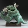 Bronze Custom Patina Sculpture of Michael Parkes Embraceable You Dragon