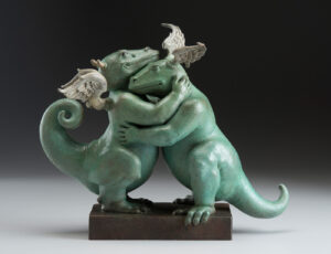 Bronze Custom Patina Sculpture of Michael Parkes Embraceable You Dragon