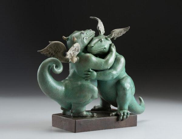 Bronze Custom Patina Sculpture of Michael Parkes Embraceable You Dragon - side
