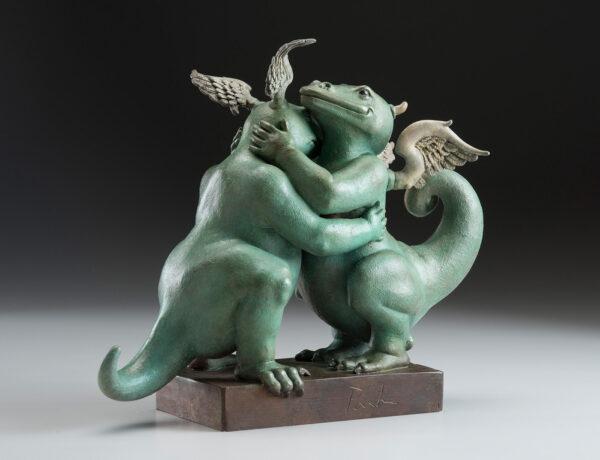 Bronze Custom Patina Sculpture of Michael Parkes Embraceable You Dragon - side 2