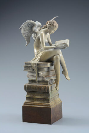 Bronze Custom Patina Sculpture of Michael Parkes Ex Libris (Beauty in Bronze)