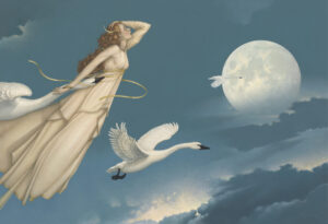 Canvas Giclee of Michael Parkes New Moon Full Moon