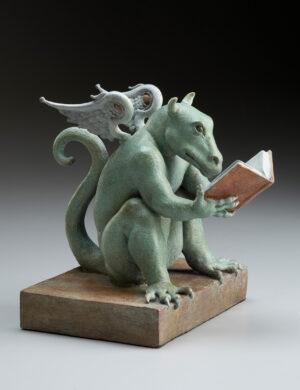 "Bronze Custom Patina Sculpture of Michael Parkes ""REX"" Libris Dragon"