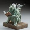 "Bronze Custom Patina Sculpture of Michael Parkes ""REX"" Libris Dragon - side"
