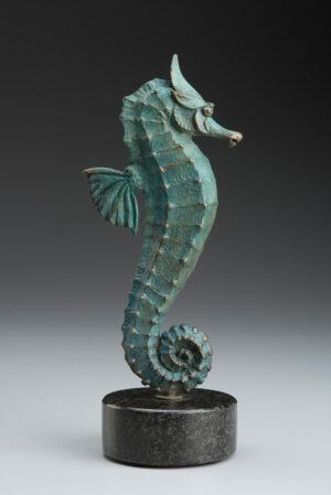Bronze Custom Patina Sculpture of Michael Parkes Seahorse