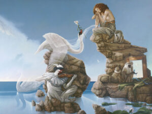 Canvas Giclee of Michael Parkes Swan Lake (Large)