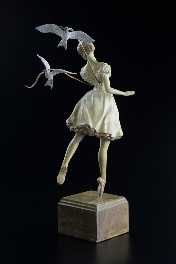 Bronze Custom Patina Sculpture of Michael Parkes Tuesday's Child - rear