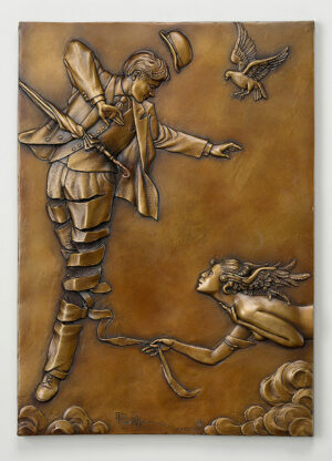 Bronze Custom Patina Sculpture of Michael Parkes Unwinding