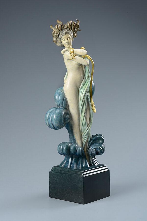 Bronze Custom Patina Sculpture of Michael Parkes Venus - side